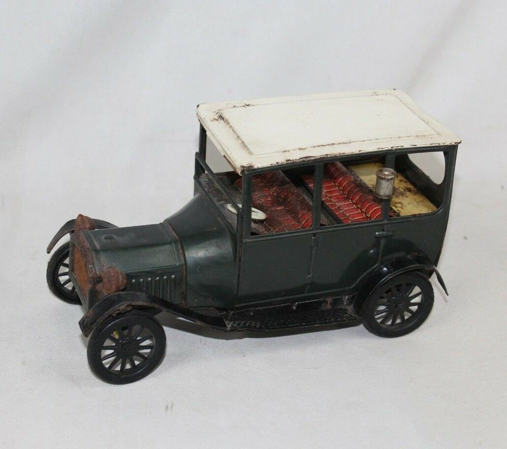 Vintage 1915 Ford Model Car Tin Friction Signof Quality Toy - Made In Japan