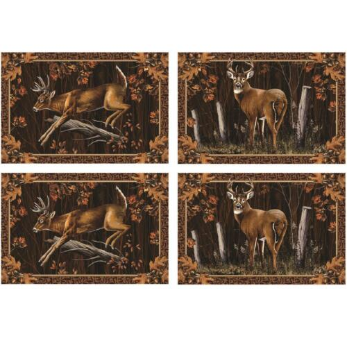 Deer Placement Set 4 Rustic Buck Hunter Cabin Lodge Kitchen Decor Table Gift New