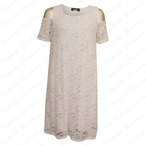 Ladies Women/'s Shoulder Cut Floral Lace Lined Short Sleeve Dress Plus Size 14-28