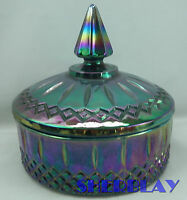 Vintage Indiana Blue Carnival Glass Iridescent Windsor Style Candy Dish w/ Lid