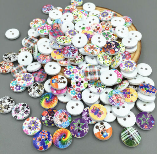 FREE  Mini Mixed patt  Wooden Buttons Fit Sewing scrapbook Embellishment 11.5mm
