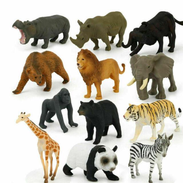 12pcs//Set Safari Jungle Animals Figures Kids Model Giraffe Tiger Toys Miniatures