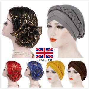 Women-Muslim-Cap-Stretch-Chemo-Hair-Loss-Pleated-Turban-Hat-Hijab-Head-Wrap-UK