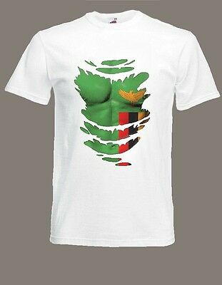 Zambia Flag T-SHIRT Zambian See Muscles through Ripped T