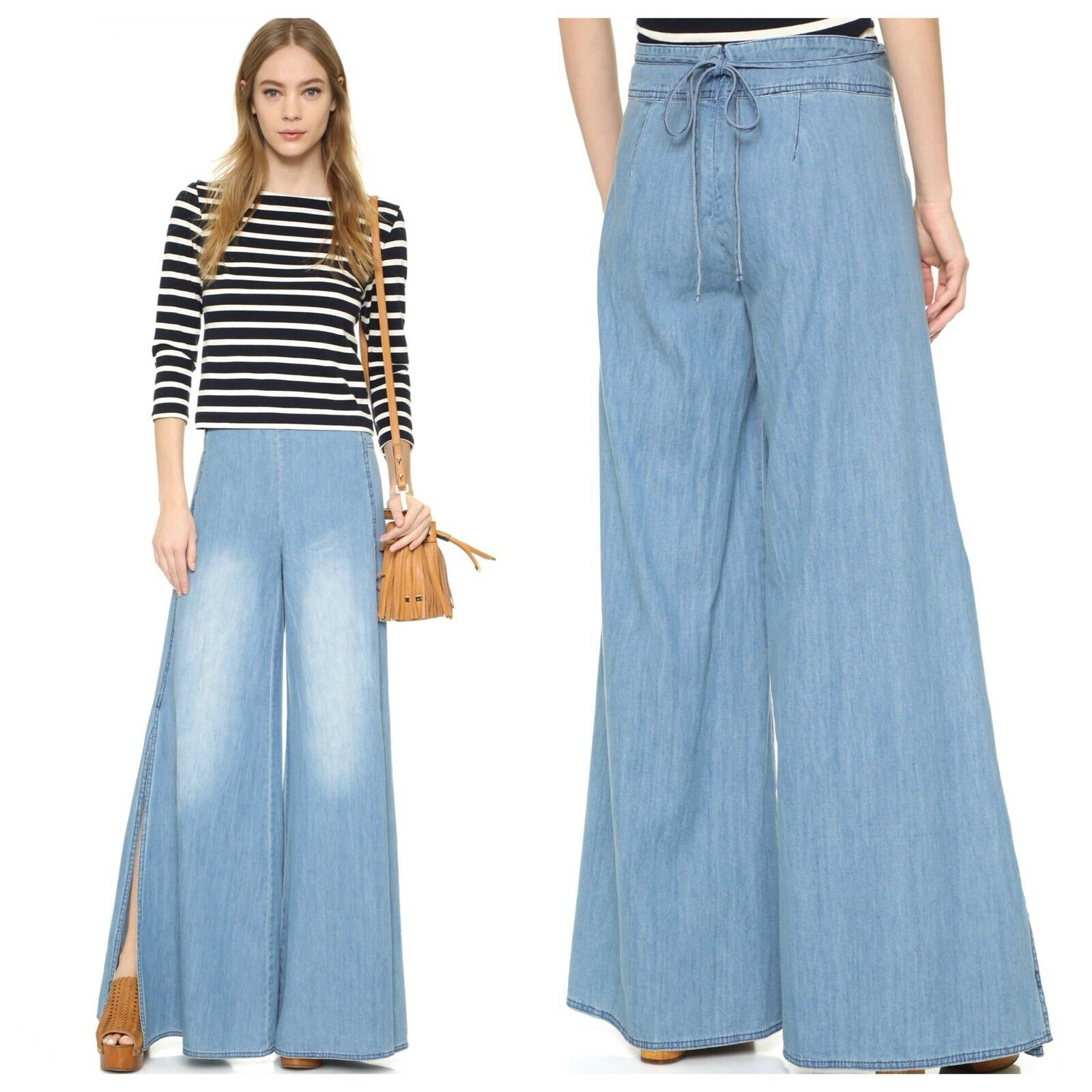 NEW Free People Ramona Wide Leg Side Split Jeans Size 8 Apron Denim Pant