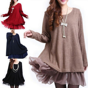 Femme-plus-Taille-Robe-tricot-pull-surdimensionne-tricots-Loose-pull