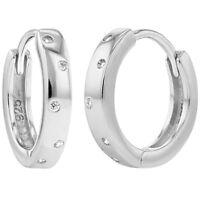 925 Sterling Silver Clear Cz Small Hoop Huggie Girls Earrings 0.39 on sale