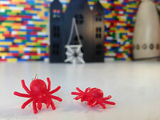 Handmade MonkiStuff Spider Earrings Red/Silver made from LEGO® Bricks Halloween