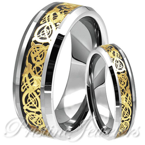 His & Her Gold Dragon Celtic Silver Tungsten Carbide Ring Mens Wedding Band Set