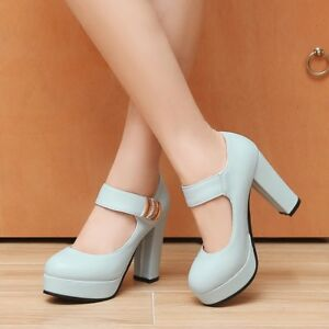 Womens-Round-Toe-Platform-High-Heels-Solid-Ankle-Strap-Mary-Jane-Shoes-EUR-35-43