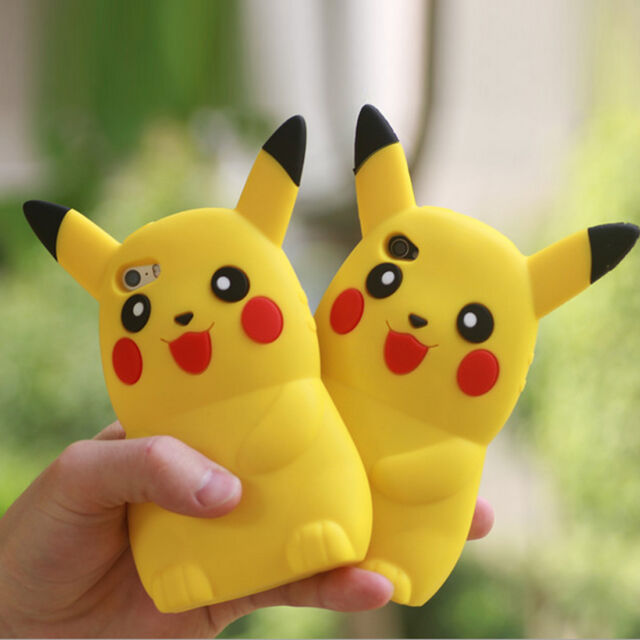 New 3D Cartoon Pikachu Pokemon GO Phone Silicon Case Cover For iPhone 6 6S Plus