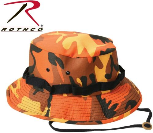 Kid/'s /& Adult Orange Camouflage Military Style Boonie Hat Bucket Jungle Hat 5549