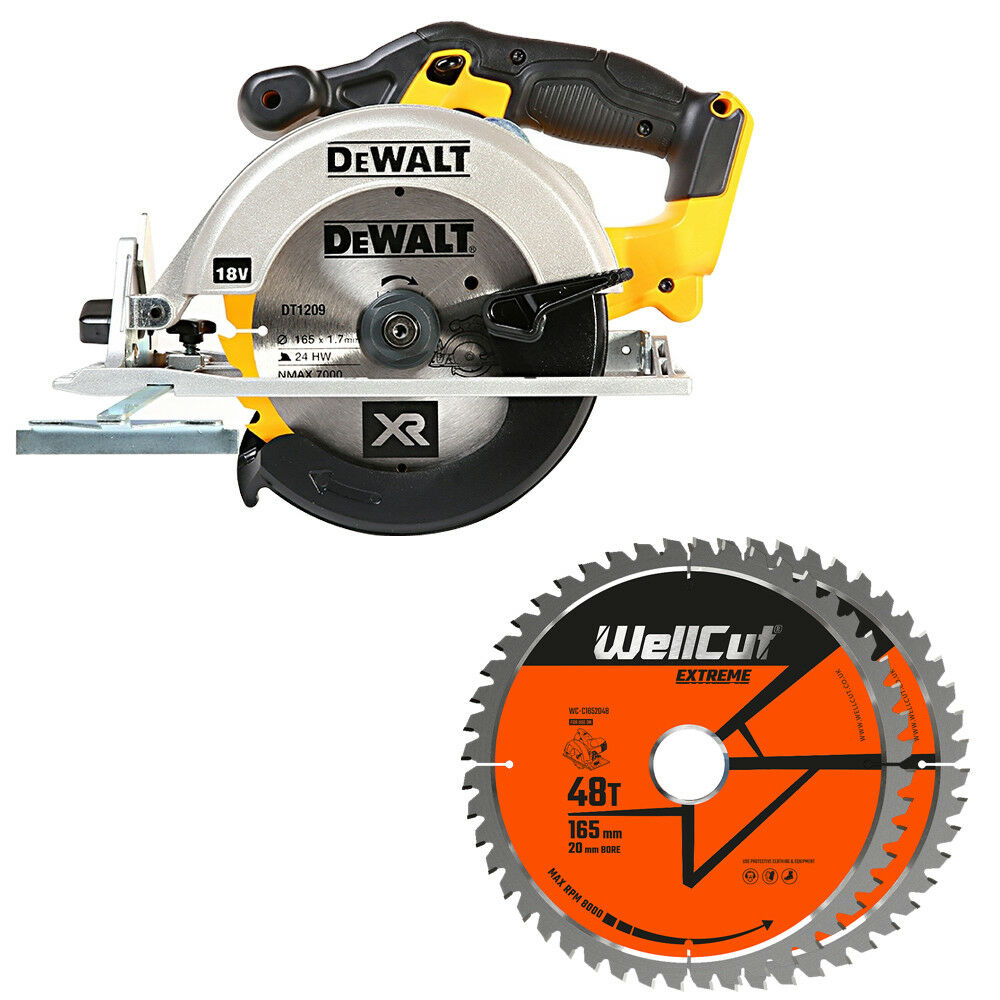 DeWalt DCS391N 18V XR li-ion Circular Saw 165mm + 1.5mm 2 Extra 48T Wood Blades