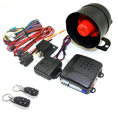 1-Way Car Vehicle Alarm Security System Keyless Entry Protection Speaker+2Remote