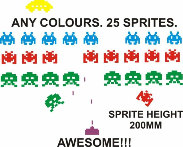 SPACE INVADERS RETRO COOL WALL ART VINYL STICKERS