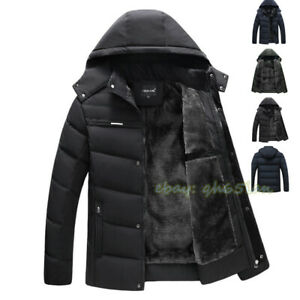 Winter Men Parka Coat Outwear Quilted Padded Fur Lined Thick Warm Hooded Jacket