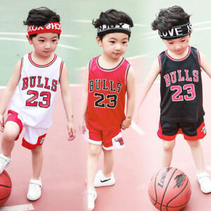 huge discount 892b3 1ecaa Details about HOT Kids Baby Boys Girls #23 Michael Jordan Bulls Basketball  Jerseys Short Suits
