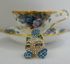 Lovely Blue Cat  Keyring Keychain Diamante Rhinestone Charm Ladies Bling Handbag