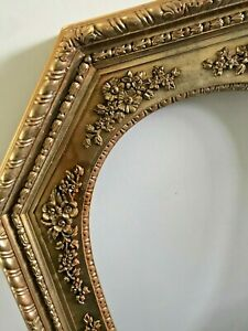 Vtg MCM Gold Plastic Ornate Hollywood Regency Octagon Picture Photo Frame 23x17