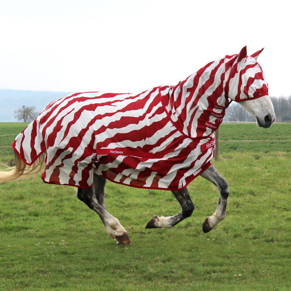 Horseven Buzz-Off full Neck-cebra-rojo blancoo-moscas manta