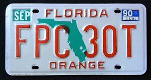 FLORIDA-034-GREEN-MAP-ORANGE-COUNTY-034-1990-FL-Vintage-Classic-License-Plate