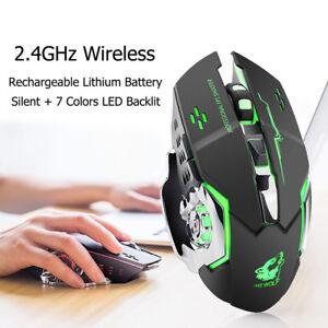 X8-Ricaricabile-Mouse-da-gioco-Ottico-Senza-Fili-Wireless-per-PC-Laptop-1800DPI