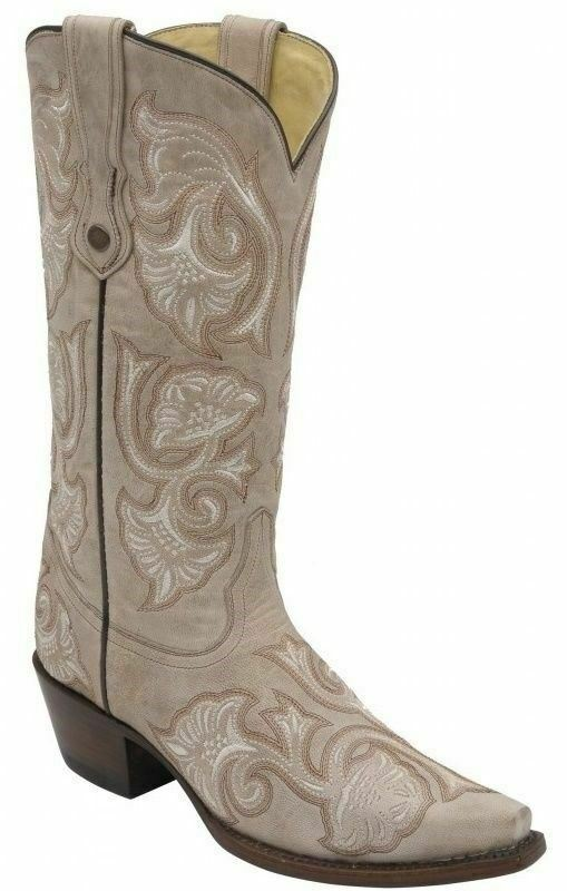 Corral Ladies Snip Toe Cowboy Western Boots Bone Floral Full Stitch G1086