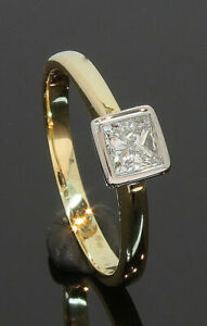 18CT-Yellow-Gold-Princess-Cut-Diamond-Solitaire-Ring-0-33ct-Size-K-80-19-183