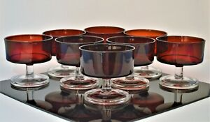 VINTAGE-ARCOROC-FRANCE-SET-OF-8-RUBY-RED-CLEAR-CHAMPAGNE-DESSERT-GLASSES