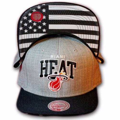 ORIGINALE Mitchell /& Ness Miami Heat Snapback Cap NBA eu183 grigio//nero//US Flag