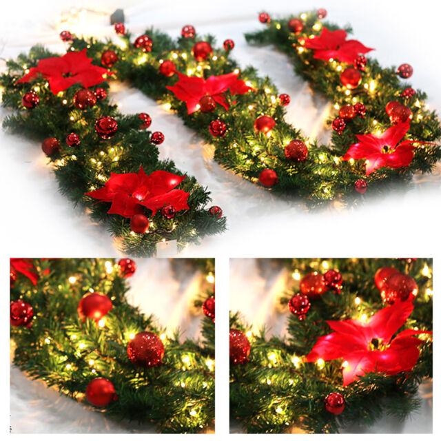 9ft Led Christmas Garland Decorations Xmas Pre Lit Fireplace Tree Pine Ribbon