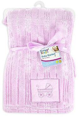 De Lujo Suave Lindo Bebé Manta Bordado Diseño 30 ° Lavable 0months