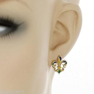 Details About Fleur De Lis Mardi Gras New Orleans Earrings Gold
