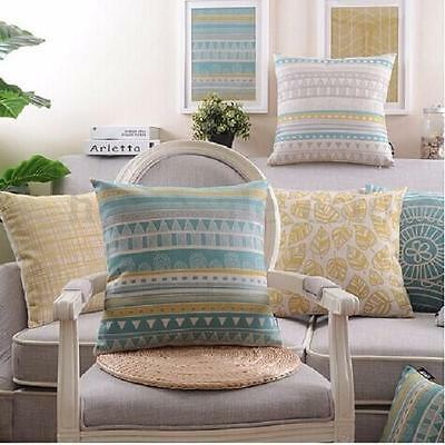 Vintage Flower Geometric Home Decor Linen Throw Pillow Case Sofa Cushion Cover