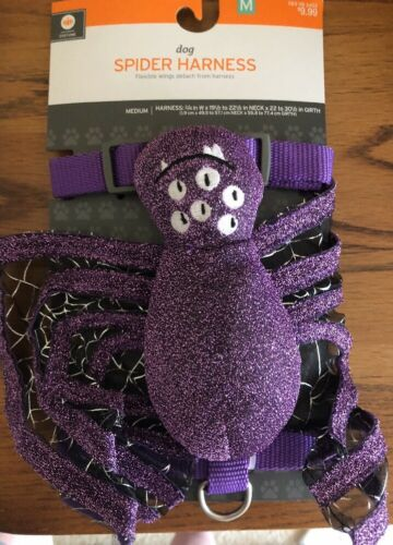 Size Medium For Small Dog Harness Halloween Themed Purple Spider in Web New
