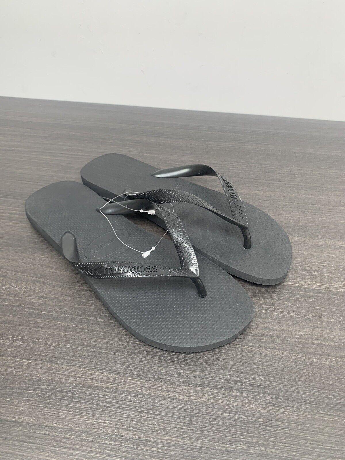 Havaianas Men's All Black Flip-Flops EU 45/46 BRAND NEW