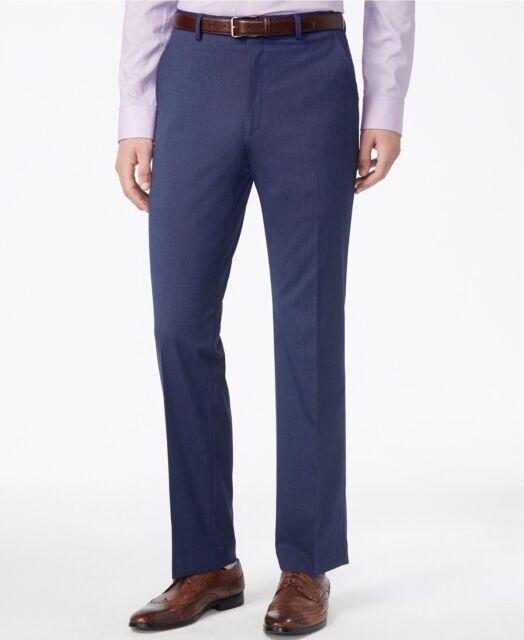 $200 ALFANI Men's BLUE SLIM FIT FLAT FRONT DRESS PANTS TROUSERS 34 W 32 L