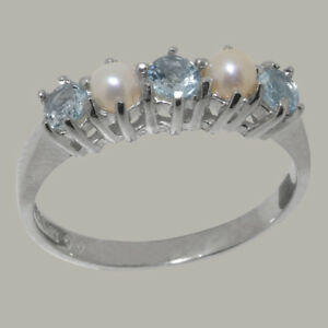 Solid 925 Hallmarked Sterling Silver Natural Pearl /& Amethyst Eternity Ring