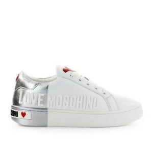 Love Moschino Blanc Argent Baskets Avec Logo Femme