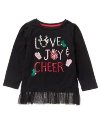 GYMBOREE HOLIDAY SHOP BLACK w// Love Joy /& Cheer GRAPHIC TEE 12 18 2T NWT