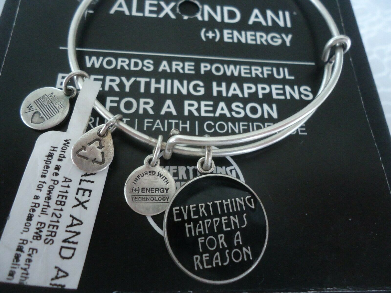 Alex And Ani Everything Happens For A Reason Silver Bangle New W