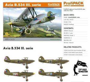 Eduard 1/72 Avia B.534 Iii Série Profipack #70101
