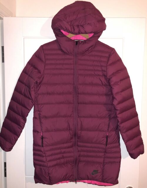 a0b55df434d9 Nike Long Padded Jacket Down Fill Zip Burgundy Winter Hooded Coat Parka  Packable for sale online