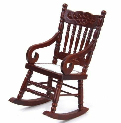 1:12 Dollhouse Miniature Doll Furniture Elegant Brown Wooden Rocking Chair Gift^