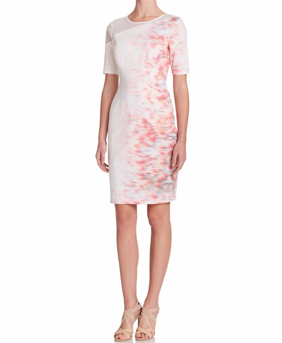 ELIE TAHARI Women's Emory White Pink Cotton Blend Short Short Short Sleeve Sheath Dress ceb742
