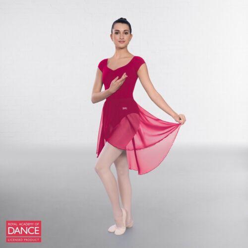 RAD Approved Semi Sheer Ballet Dance Skirt with Wrapover Detail Burgundy Black