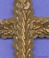 French Antique Metal Sequins Gold Builion Beaded Cross Applique Trim Religious