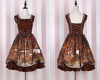 Girls Lolita Steampunk Brown Sleeveless Dress JSK Lace-up Bow Dress
