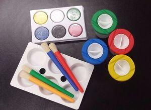 Paints Brush And Water Pot Palettes Art Kit School Craft Kids Club