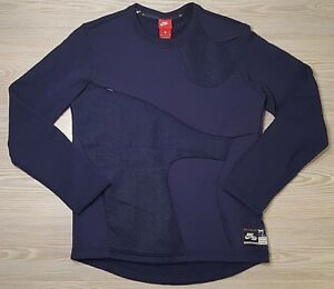 Details about Nike Air Basketball Crew Sweatshirt Navy Blue Hypermesh 830649 429 Size S NWT